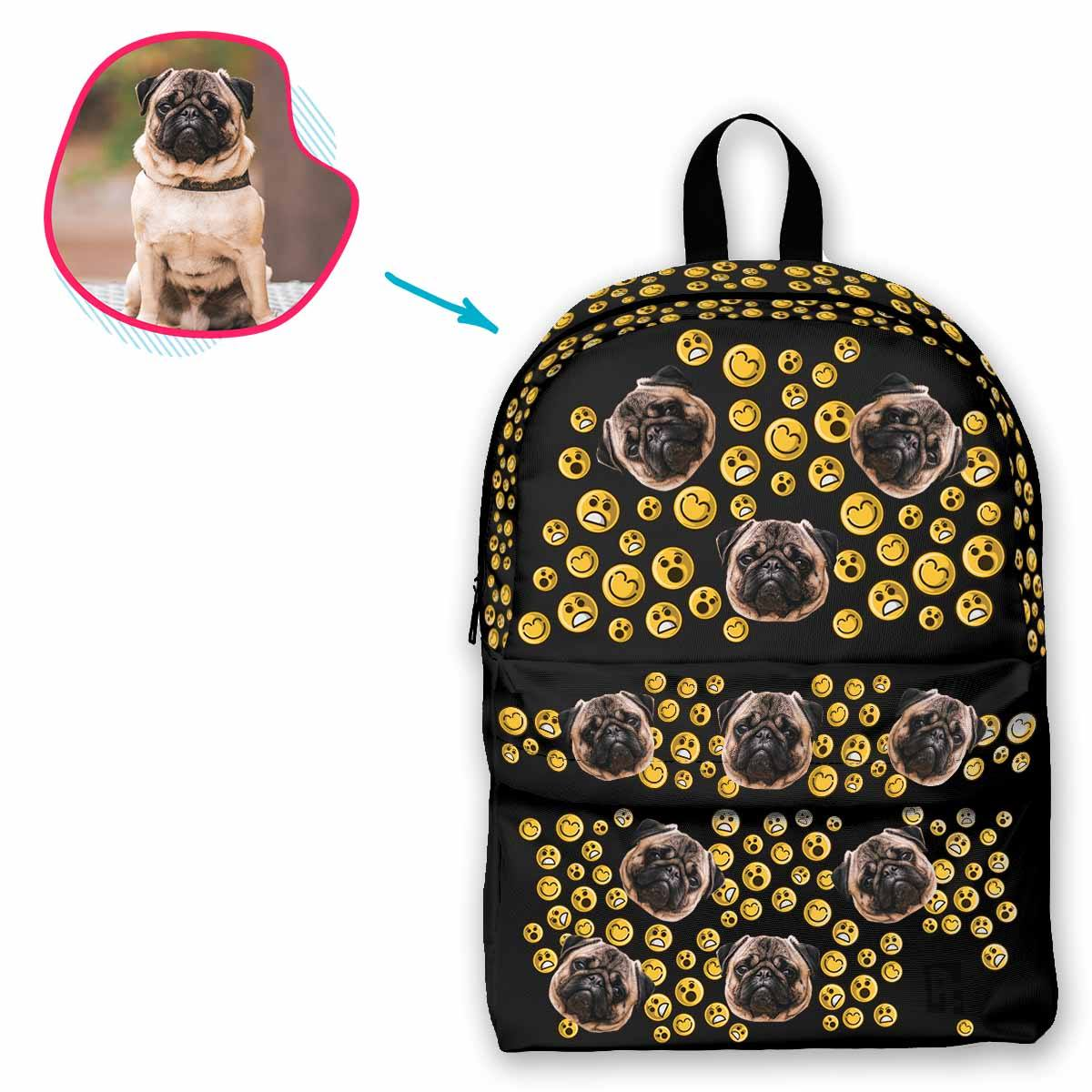 dark Smiles classic backpack personalized with photo of face printed on it