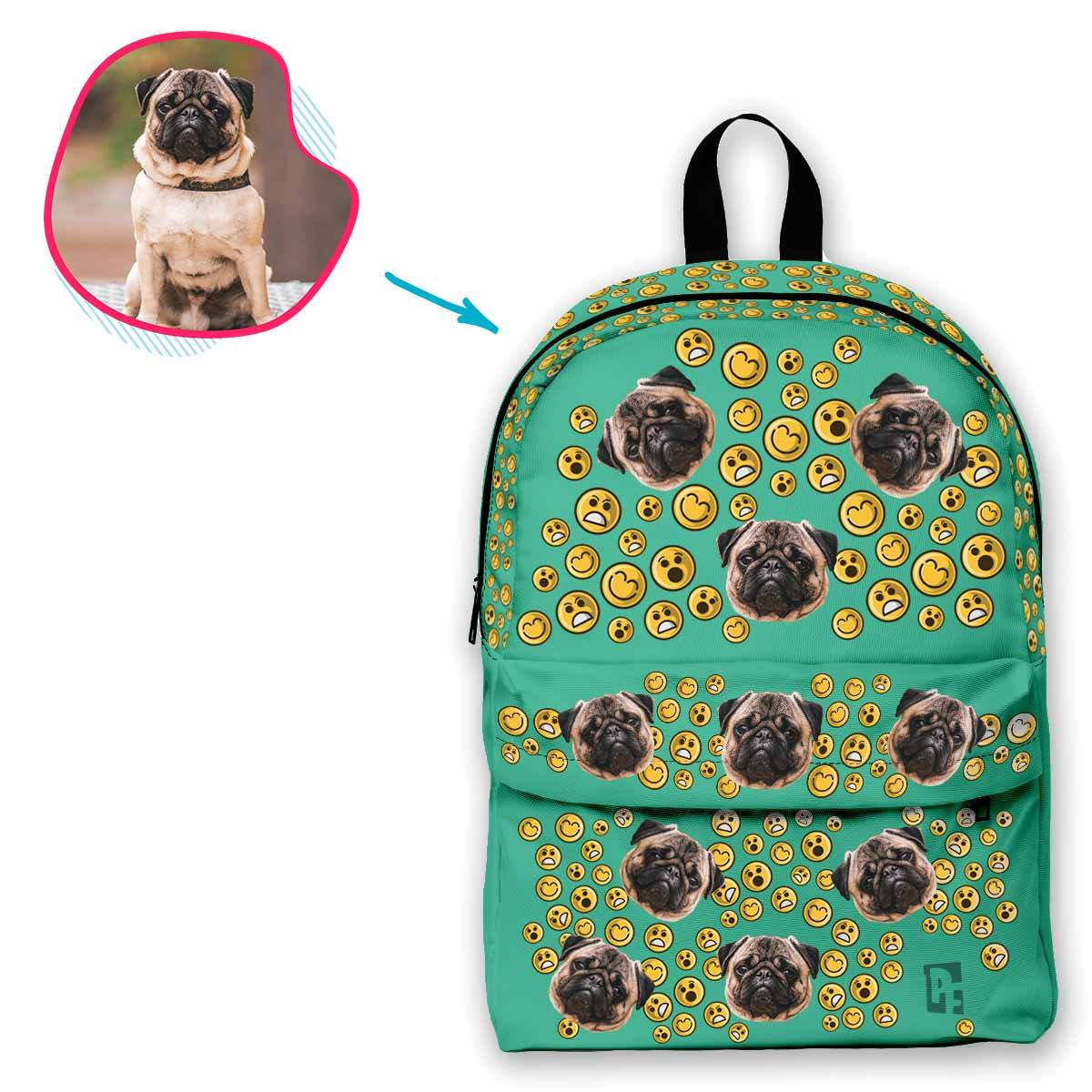 mint Smiles classic backpack personalized with photo of face printed on it