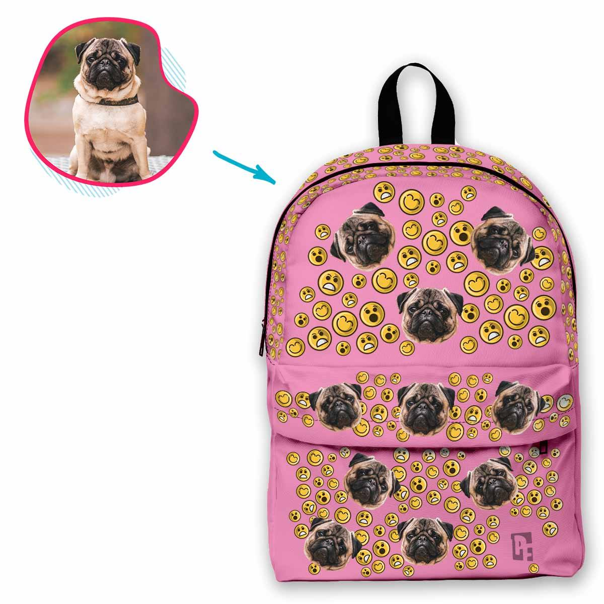 pink Smiles classic backpack personalized with photo of face printed on it