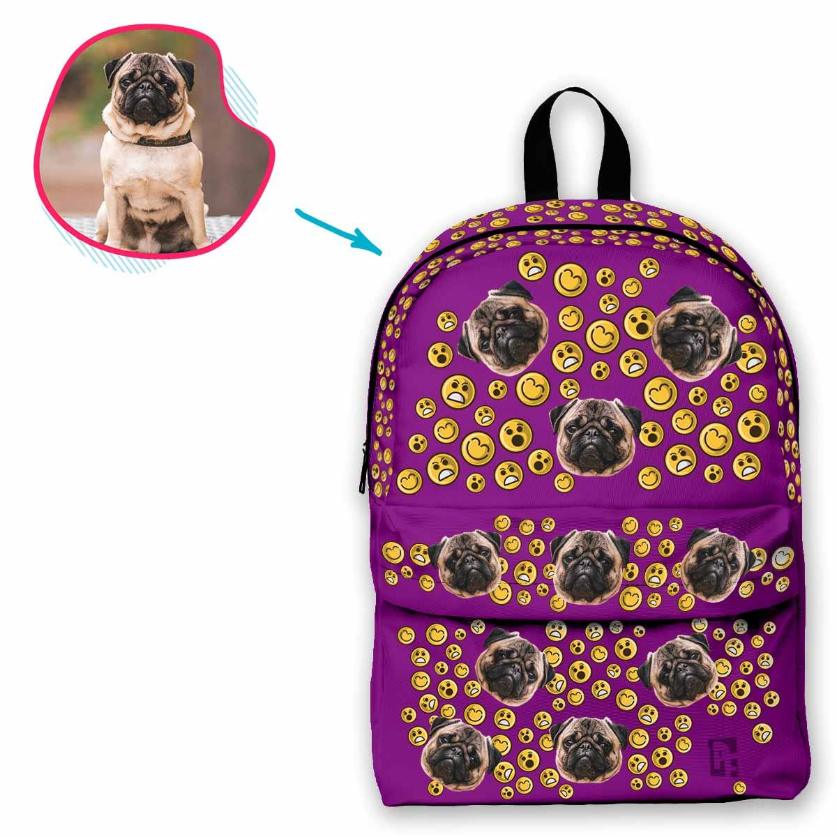 purple Smiles classic backpack personalized with photo of face printed on it