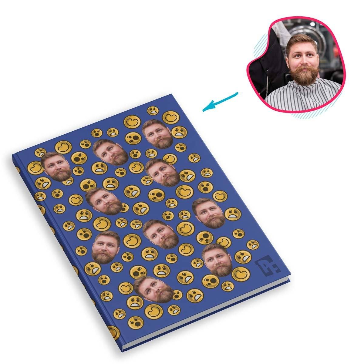 darkblue Smiles Notebook personalized with photo of face printed on them