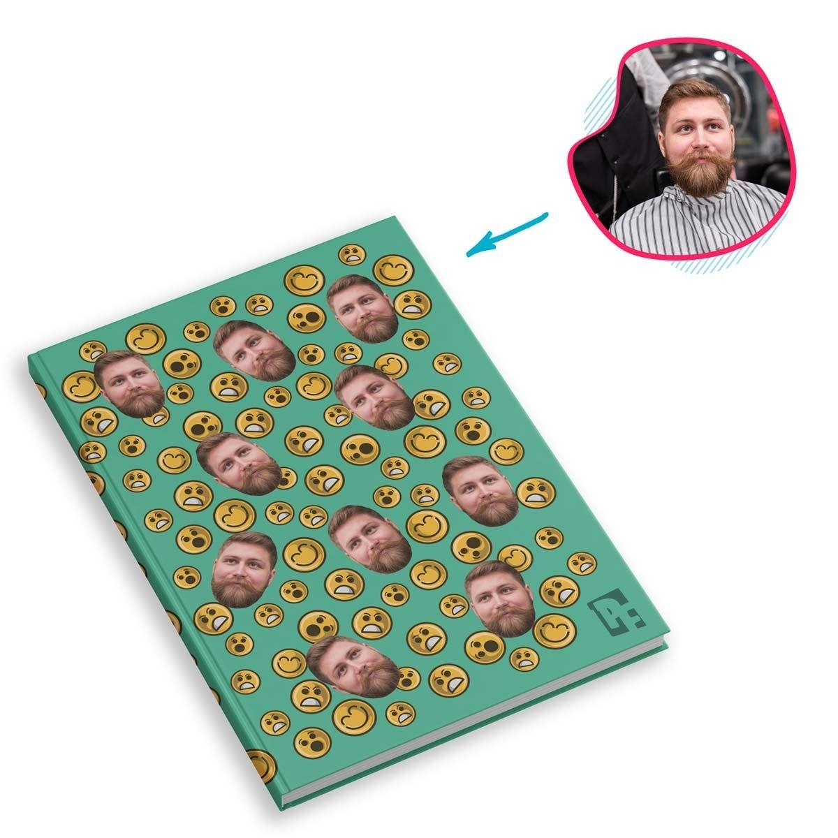 mint Smiles Notebook personalized with photo of face printed on them