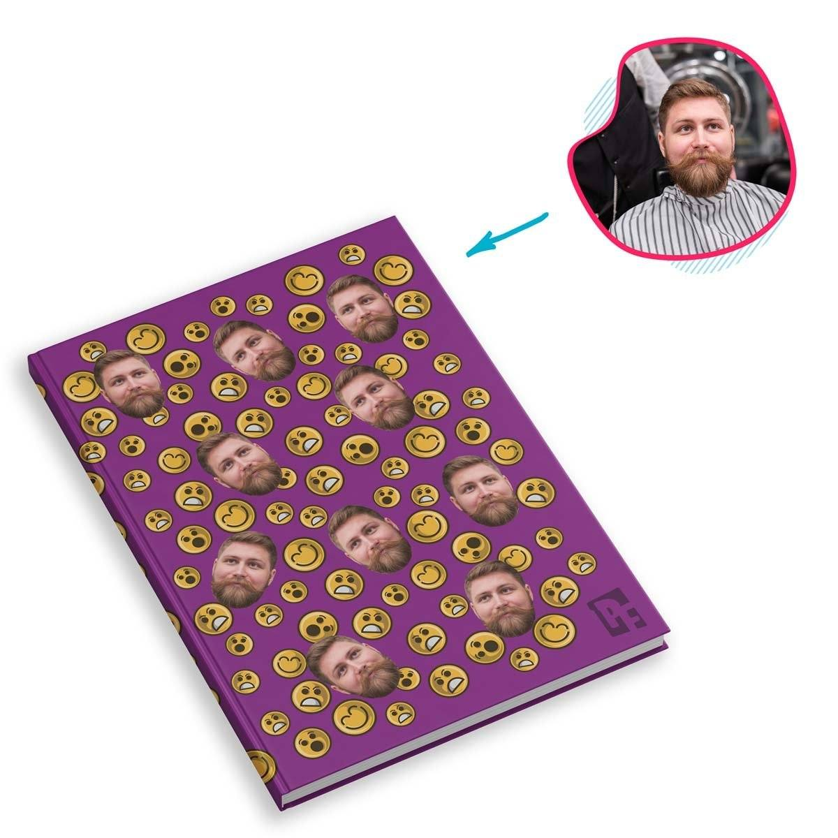 purple Smiles Notebook personalized with photo of face printed on them
