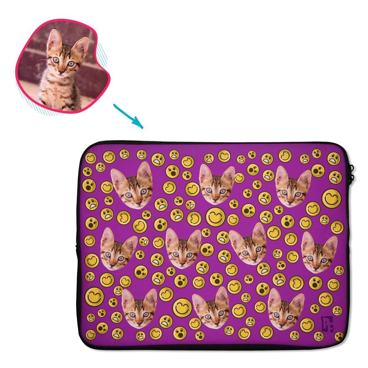 purple Smiles laptop sleeve personalized with photo of face printed on them