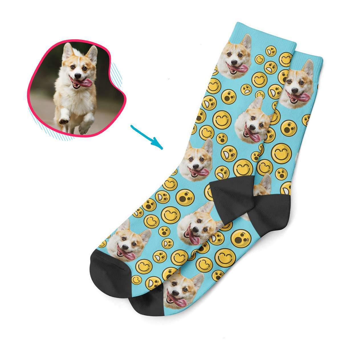 blue Smiles socks personalized with photo of face printed on them