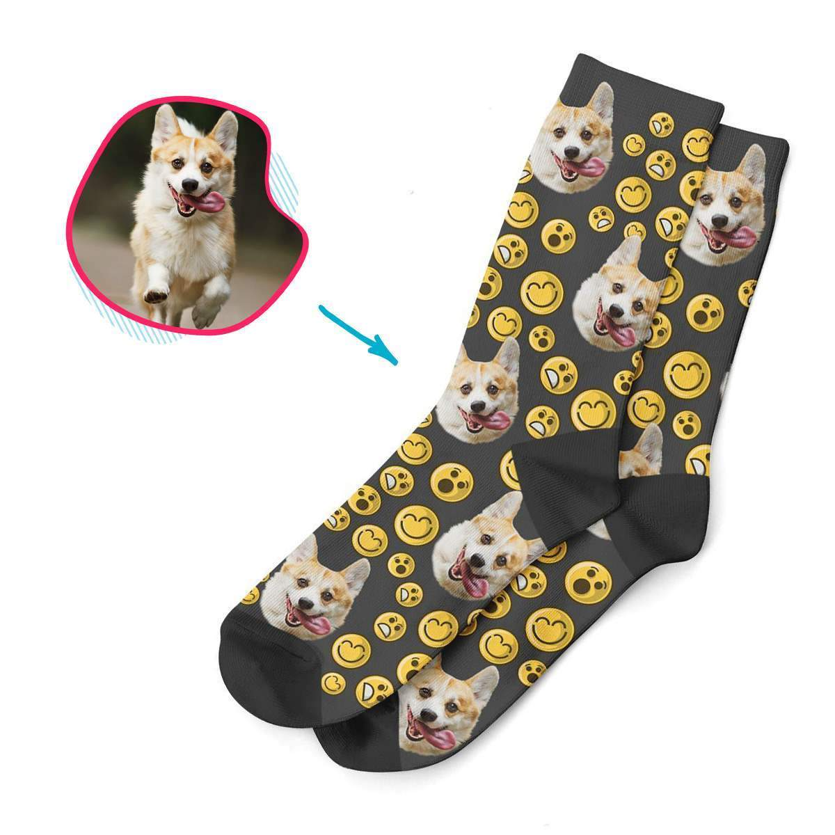 dark Smiles socks personalized with photo of face printed on them