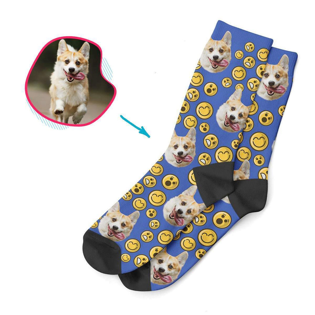 darkblue Smiles socks personalized with photo of face printed on them
