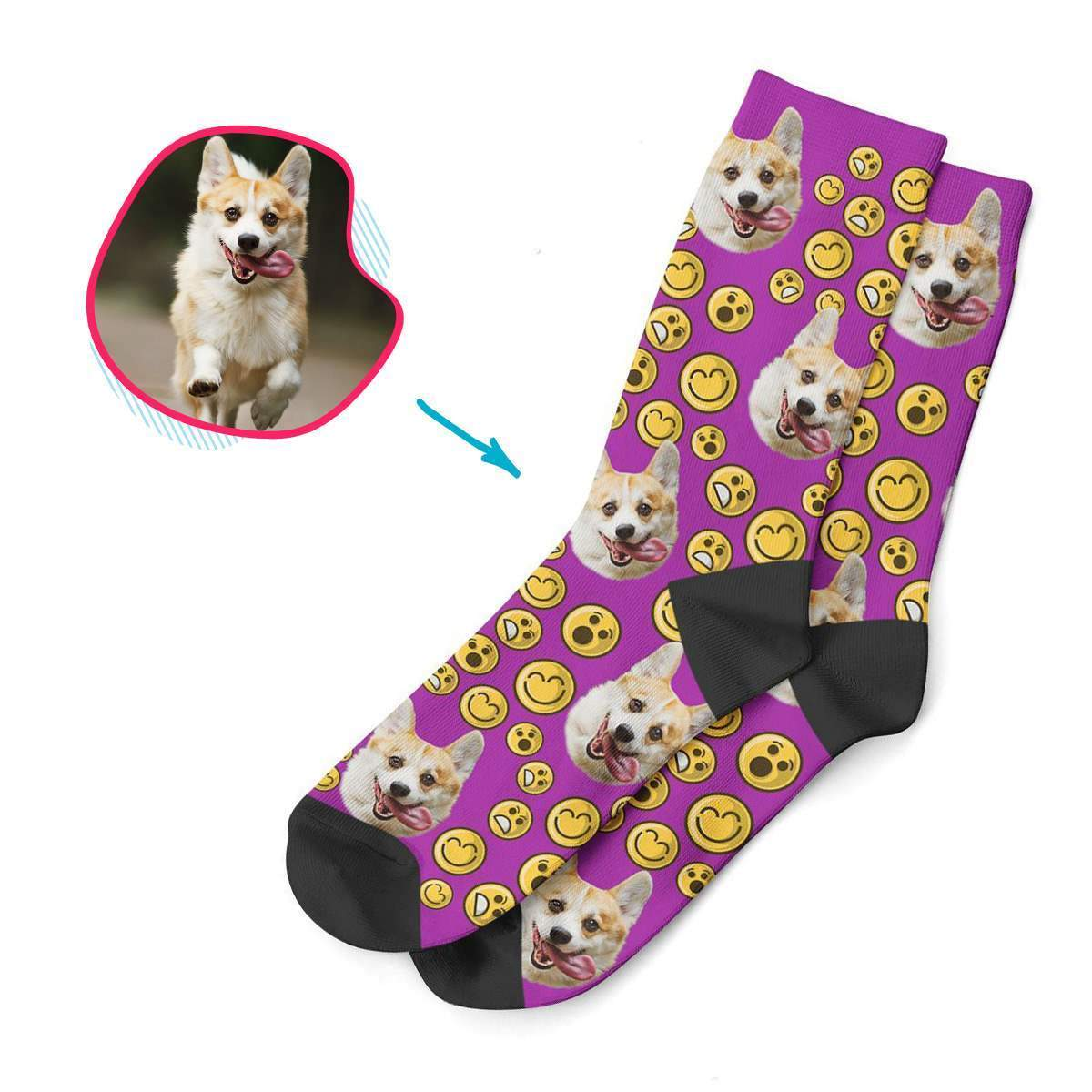 purple Smiles socks personalized with photo of face printed on them