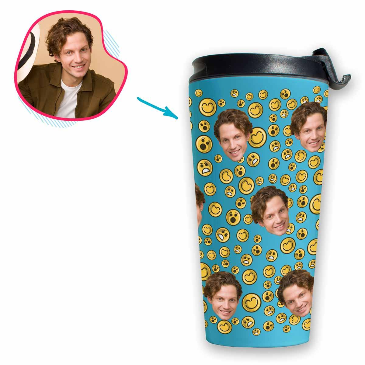 blue Smiles travel mug personalized with photo of face printed on it