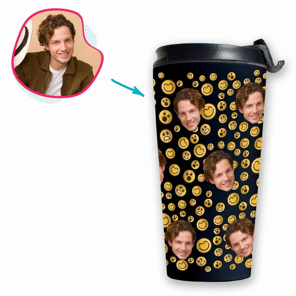 dark Smiles travel mug personalized with photo of face printed on it