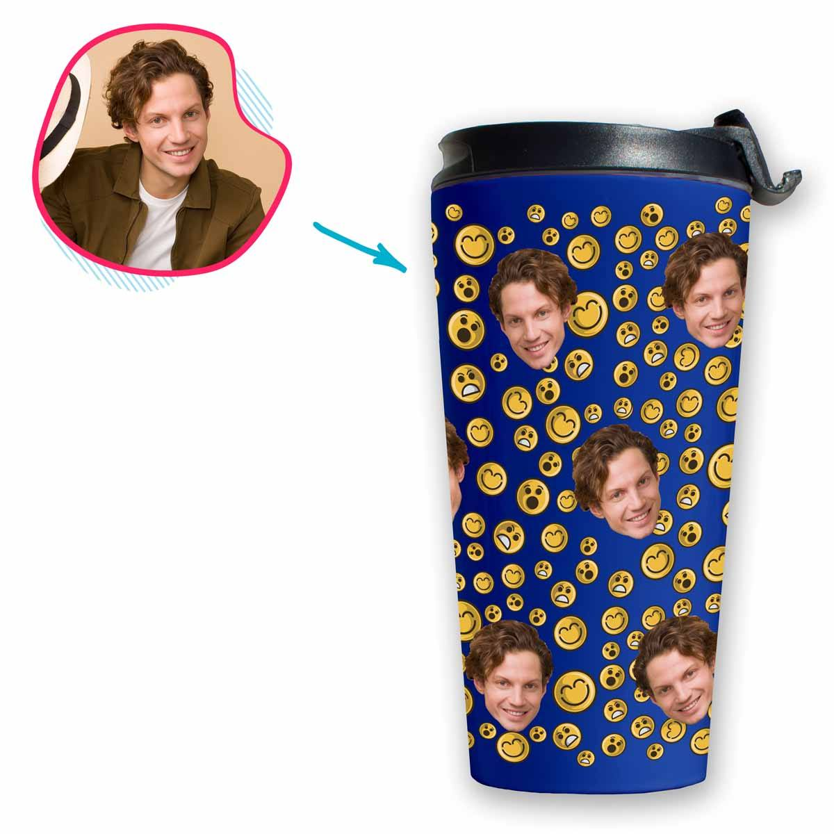 darkblue Smiles travel mug personalized with photo of face printed on it