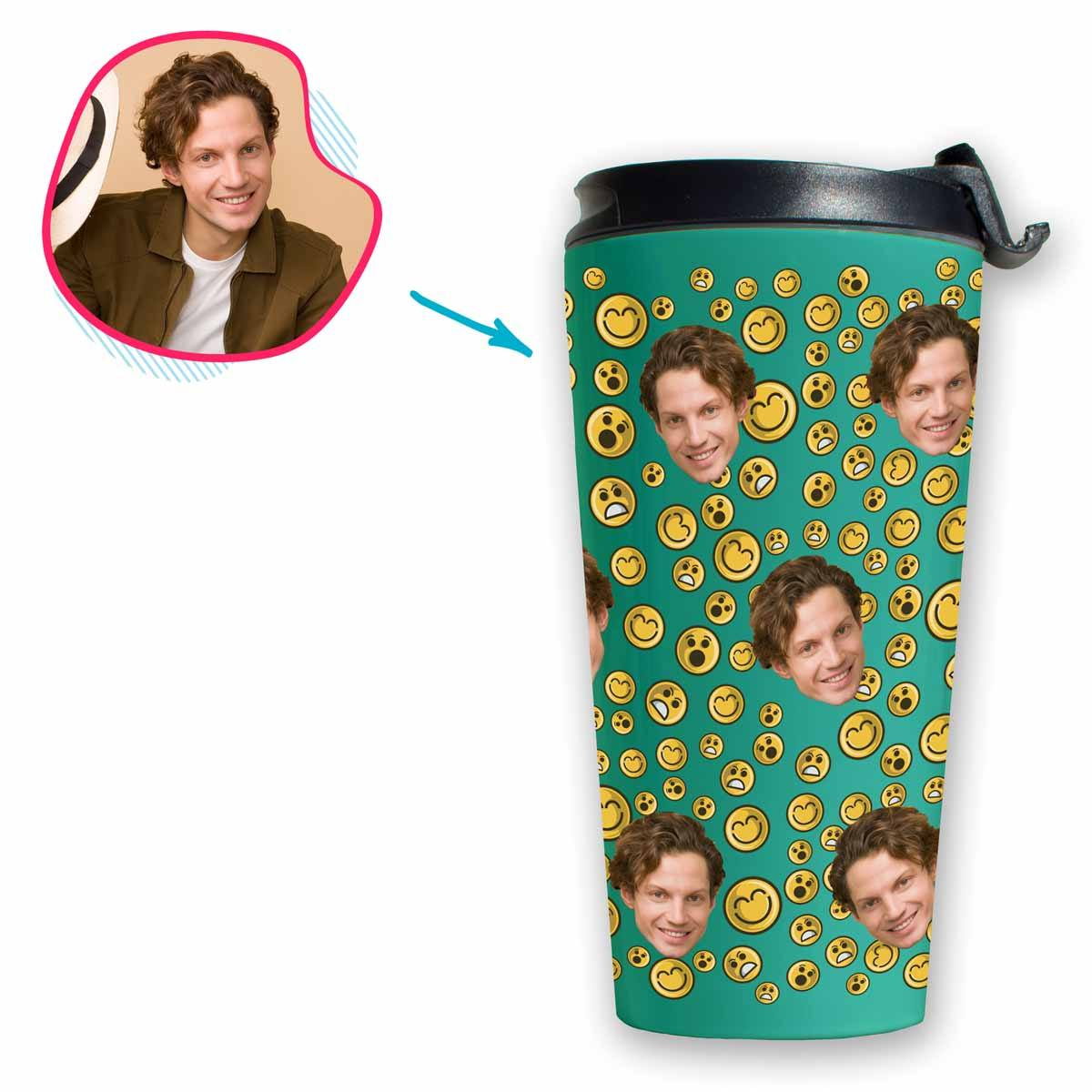 mint Smiles travel mug personalized with photo of face printed on it