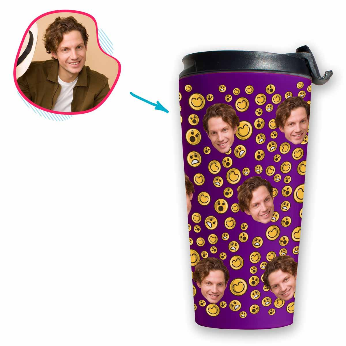 purple Smiles travel mug personalized with photo of face printed on it