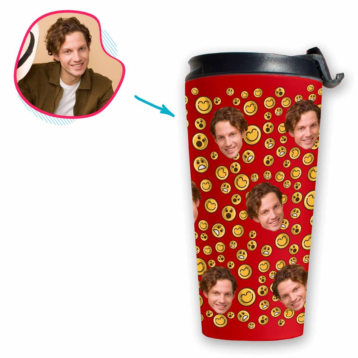red Smiles travel mug personalized with photo of face printed on it