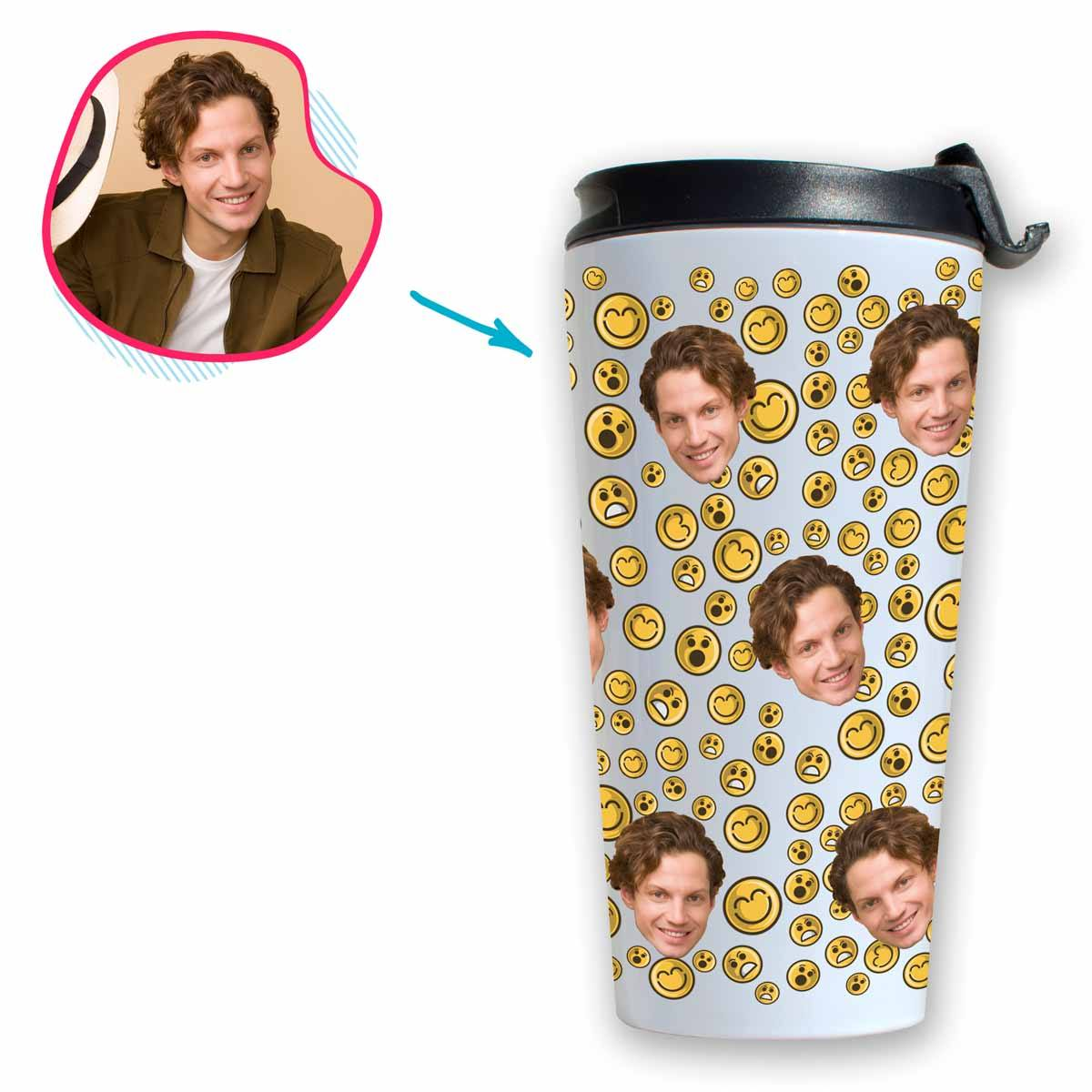 white Smiles travel mug personalized with photo of face printed on it
