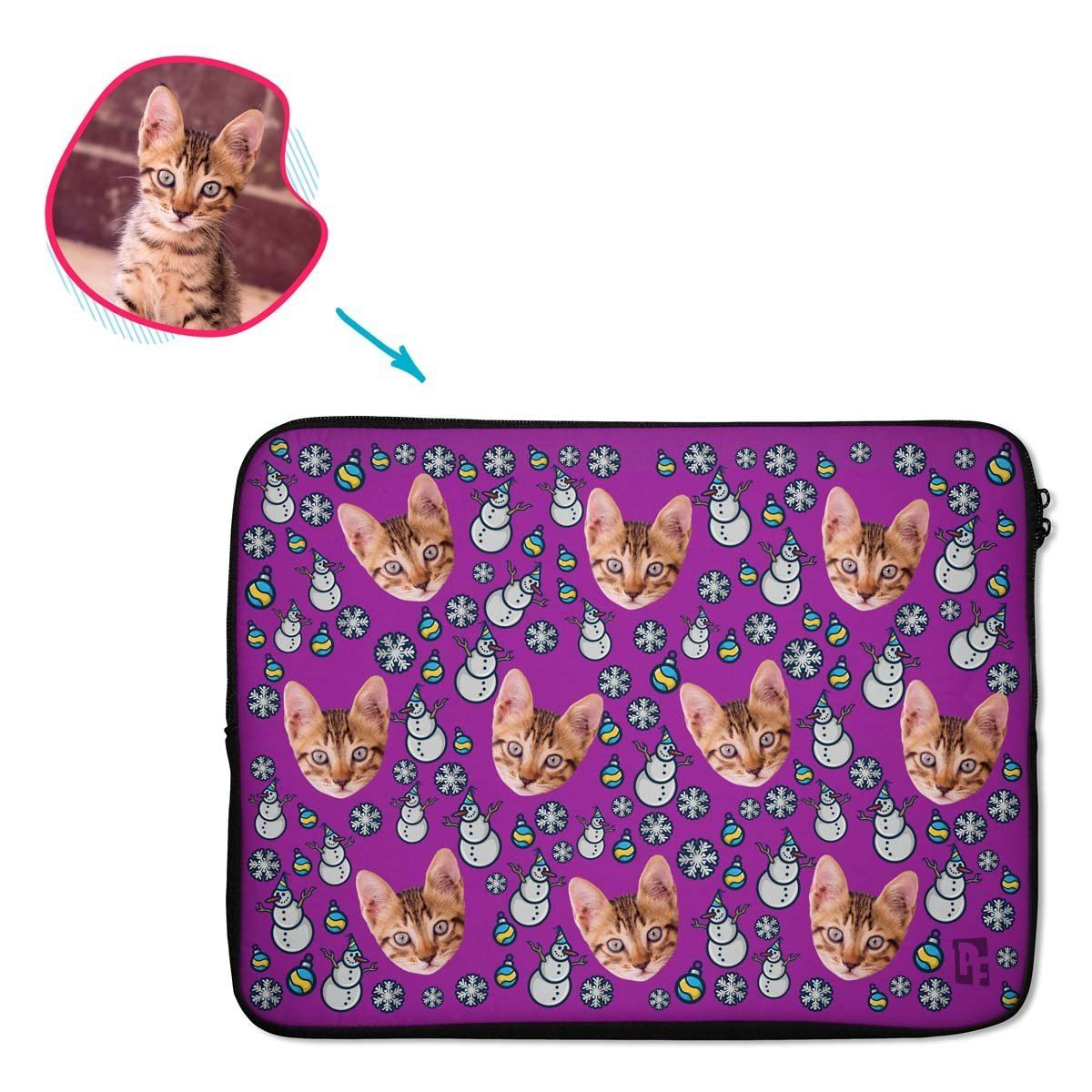 purple Snowman laptop sleeve personalized with photo of face printed on them