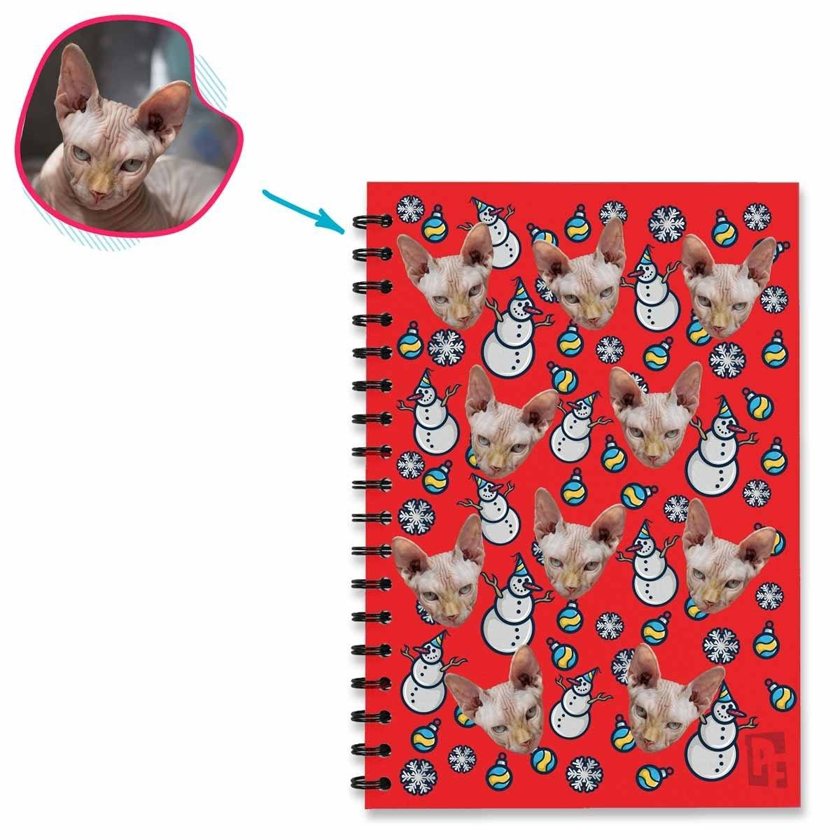 red Snowman Notebook personalized with photo of face printed on them