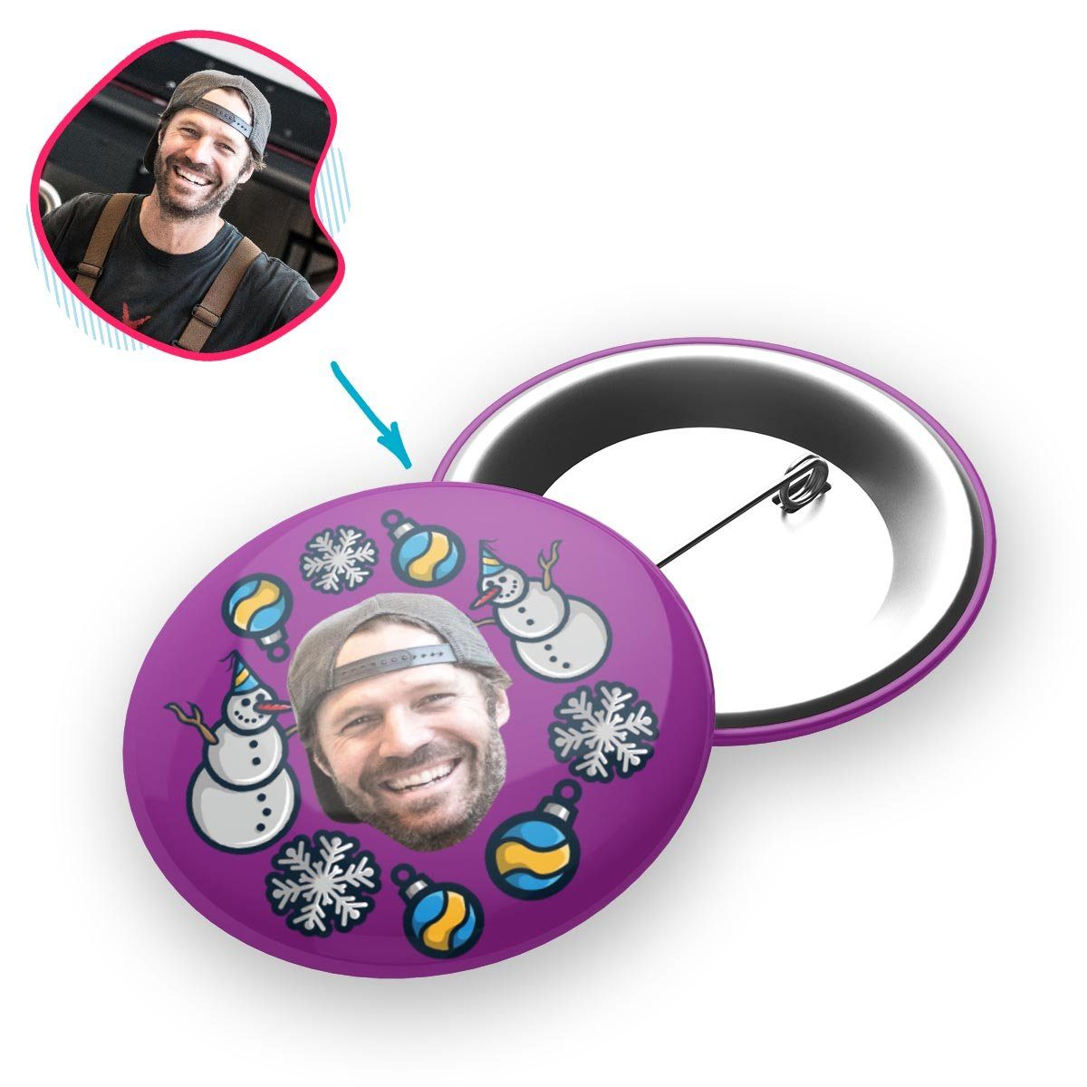 purple Snowman pin personalized with photo of face printed on it