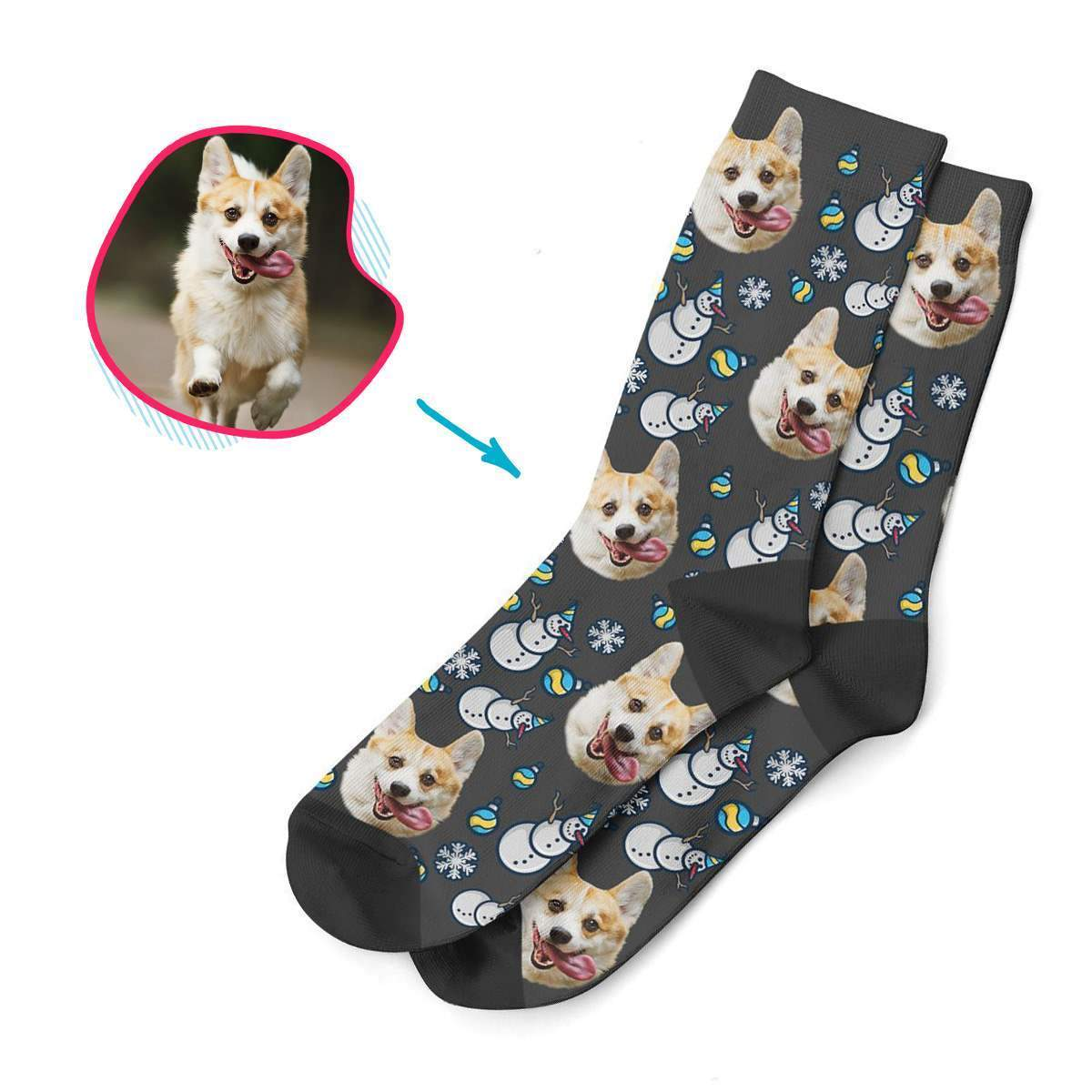 dark Snowman socks personalized with photo of face printed on them