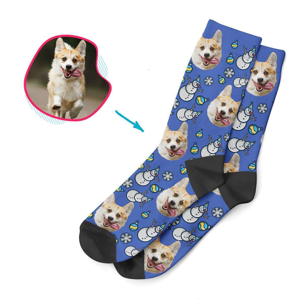 darkblue Snowman socks personalized with photo of face printed on them
