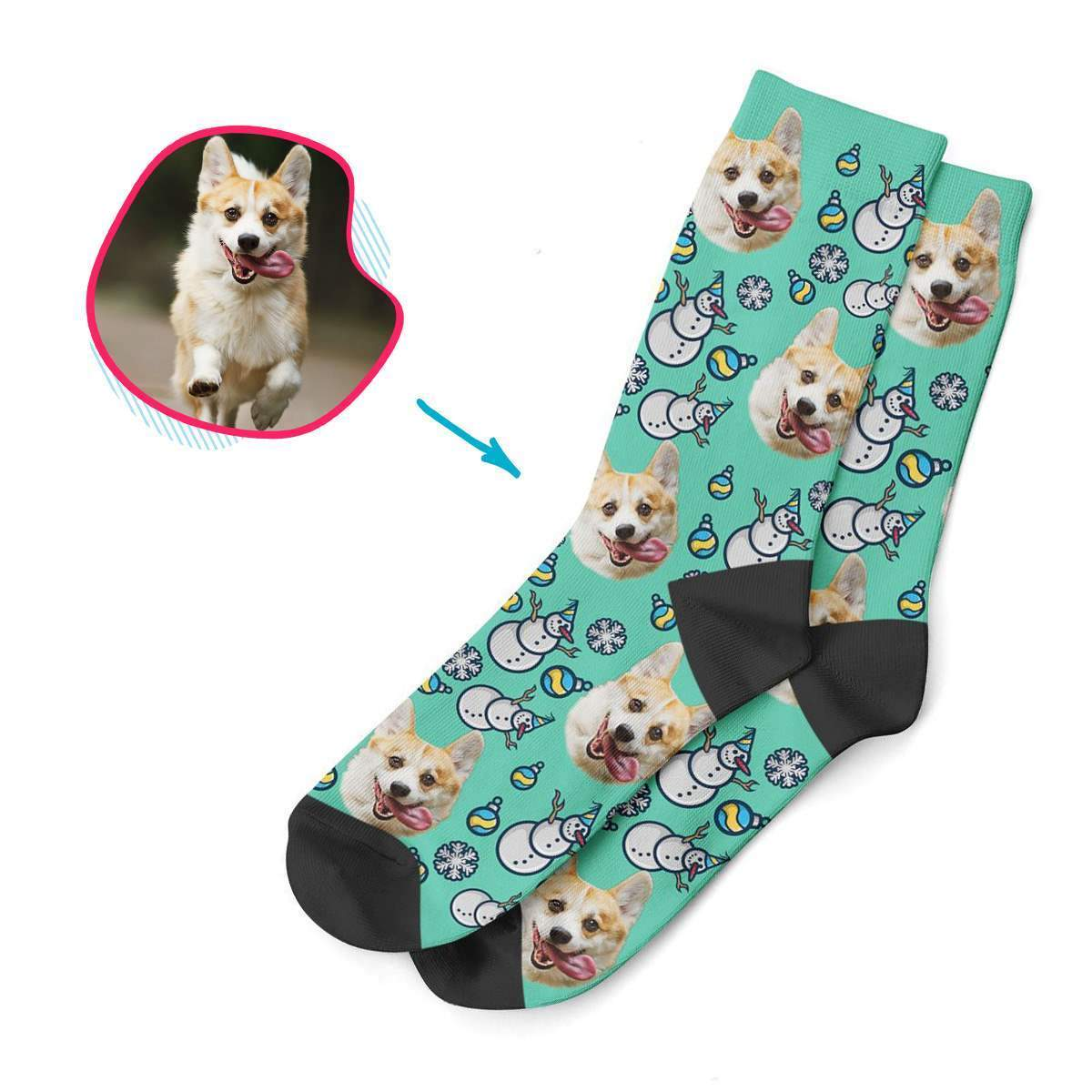 mint Snowman socks personalized with photo of face printed on them