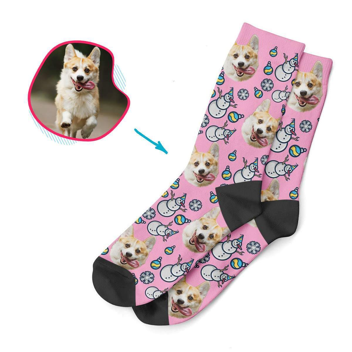 pink Snowman socks personalized with photo of face printed on them