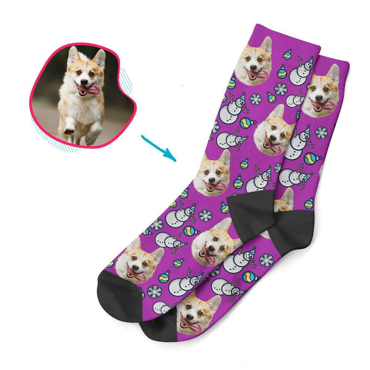 purple Snowman socks personalized with photo of face printed on them