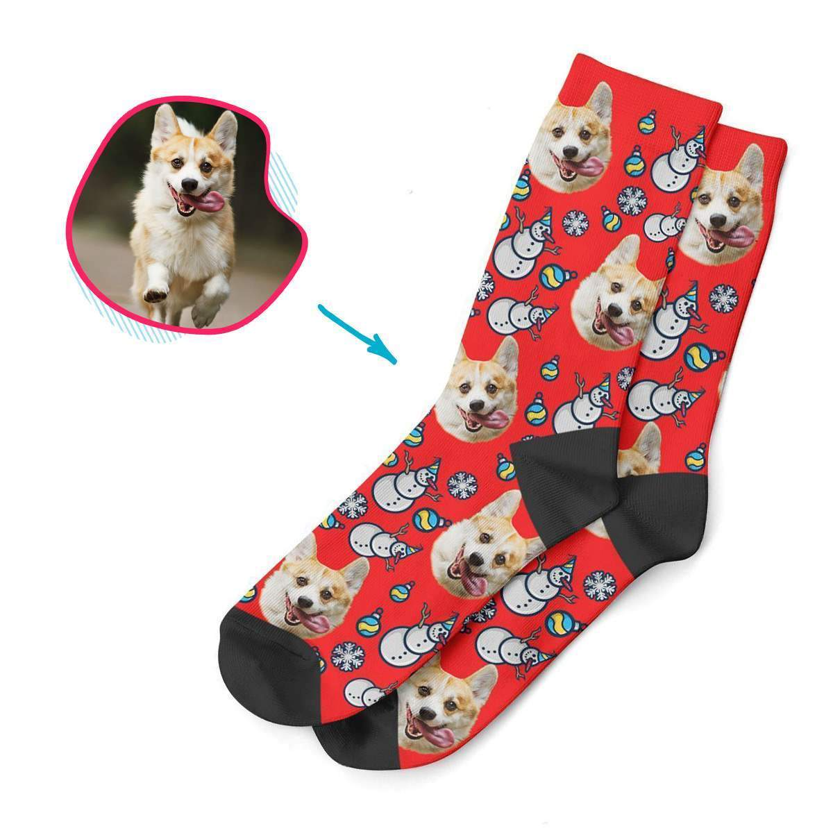 red Snowman socks personalized with photo of face printed on them
