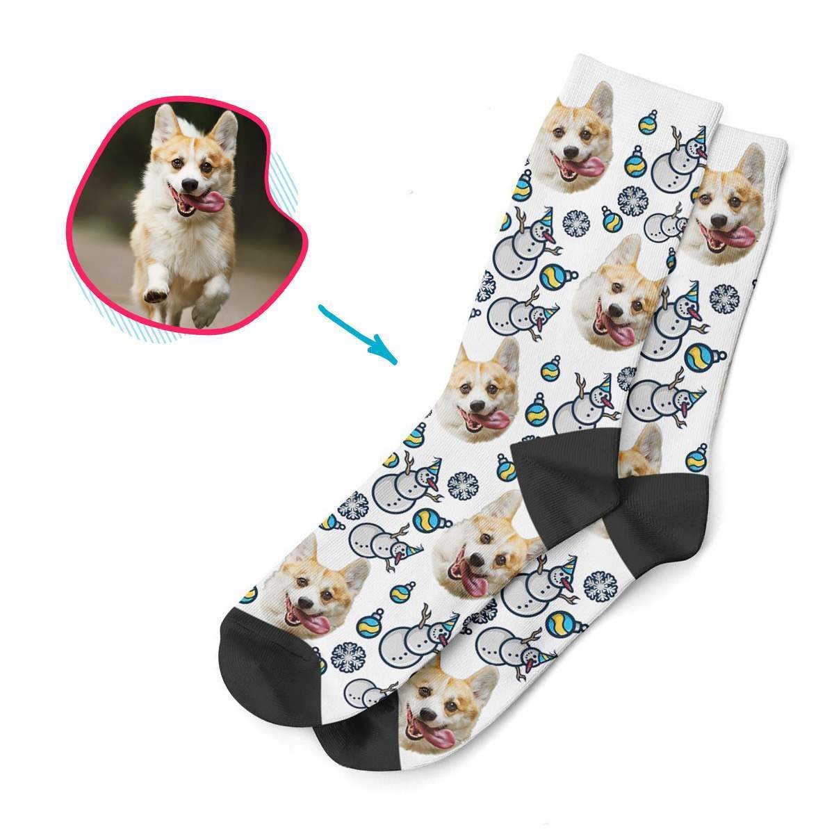 white Snowman socks personalized with photo of face printed on them