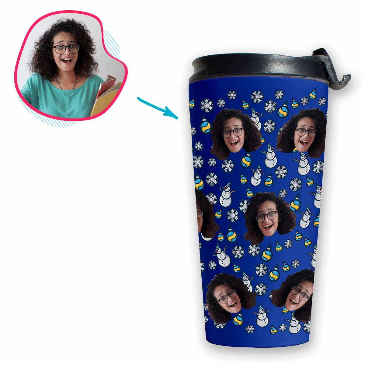 darkblue Snowman travel mug personalized with photo of face printed on it