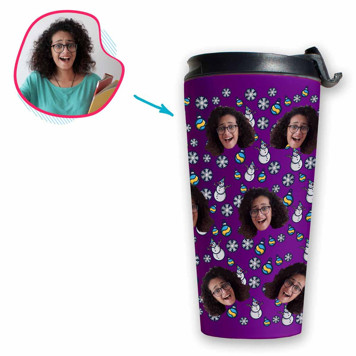 purple Snowman travel mug personalized with photo of face printed on it