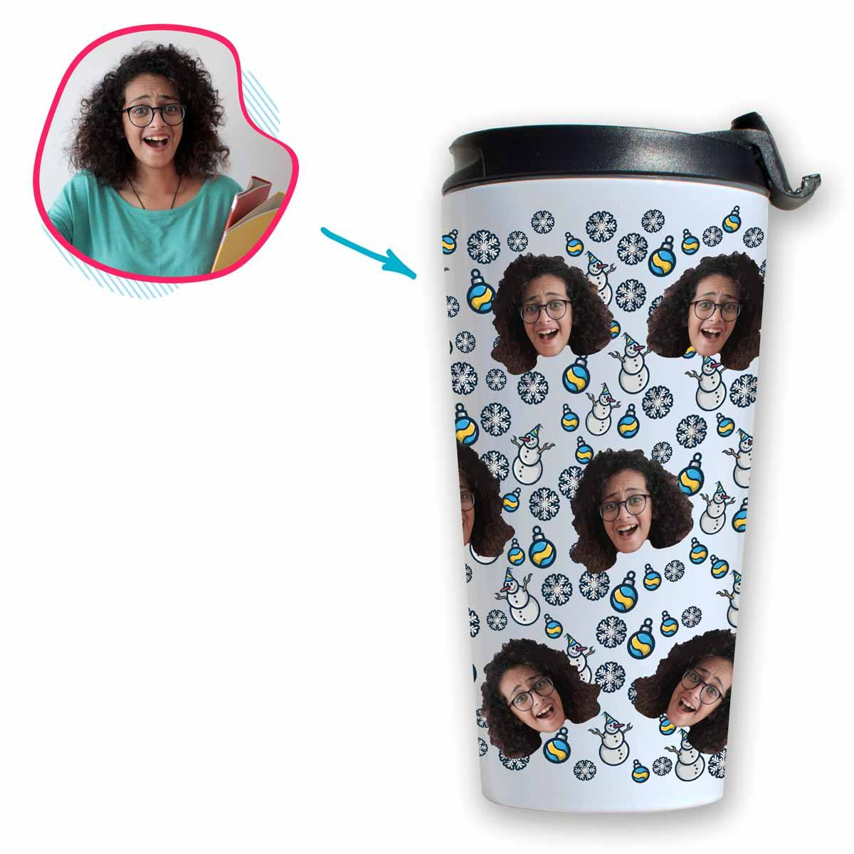 white Snowman travel mug personalized with photo of face printed on it