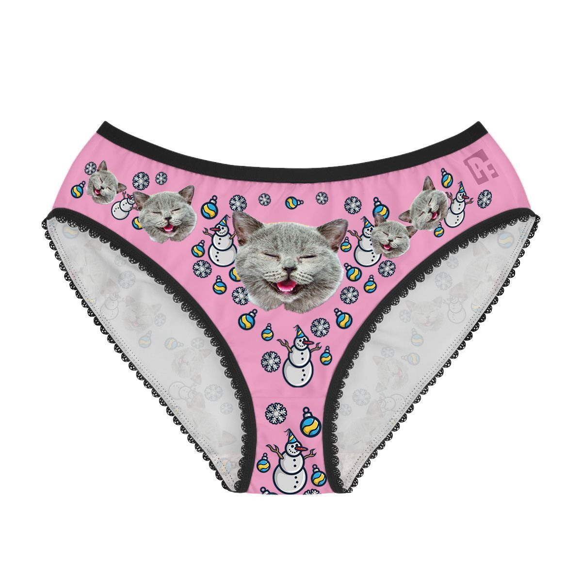 Pink Snowman women's underwear briefs personalized with photo printed on them