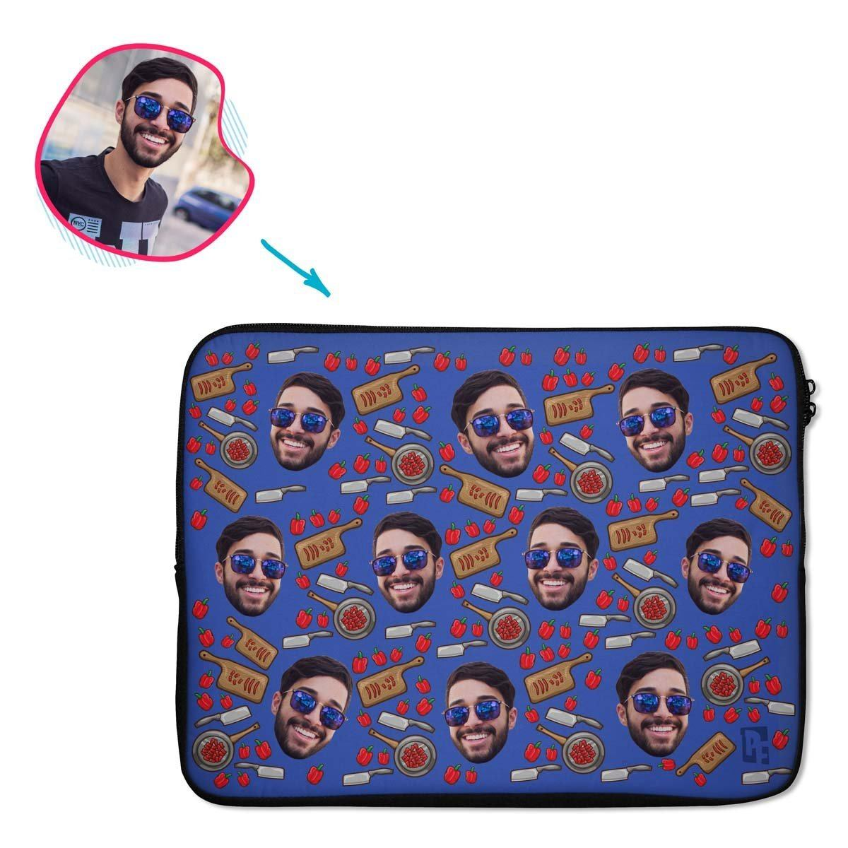darkblue Сooking laptop sleeve personalized with photo of face printed on them