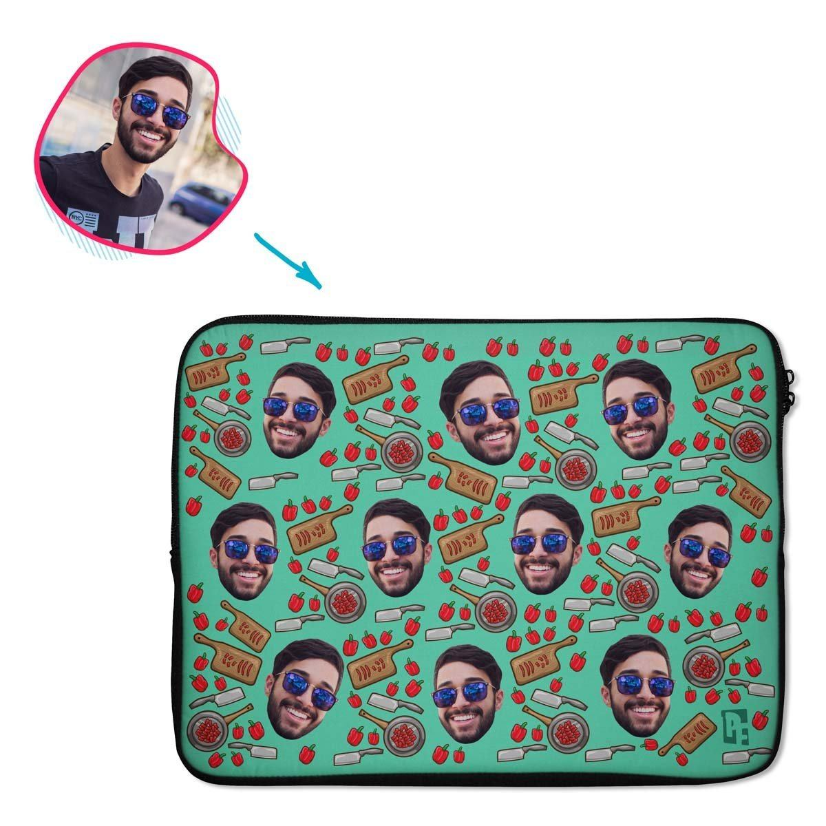 mint Сooking laptop sleeve personalized with photo of face printed on them