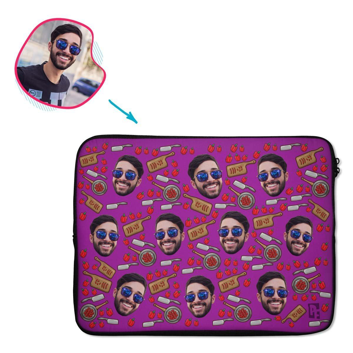 purple Сooking laptop sleeve personalized with photo of face printed on them