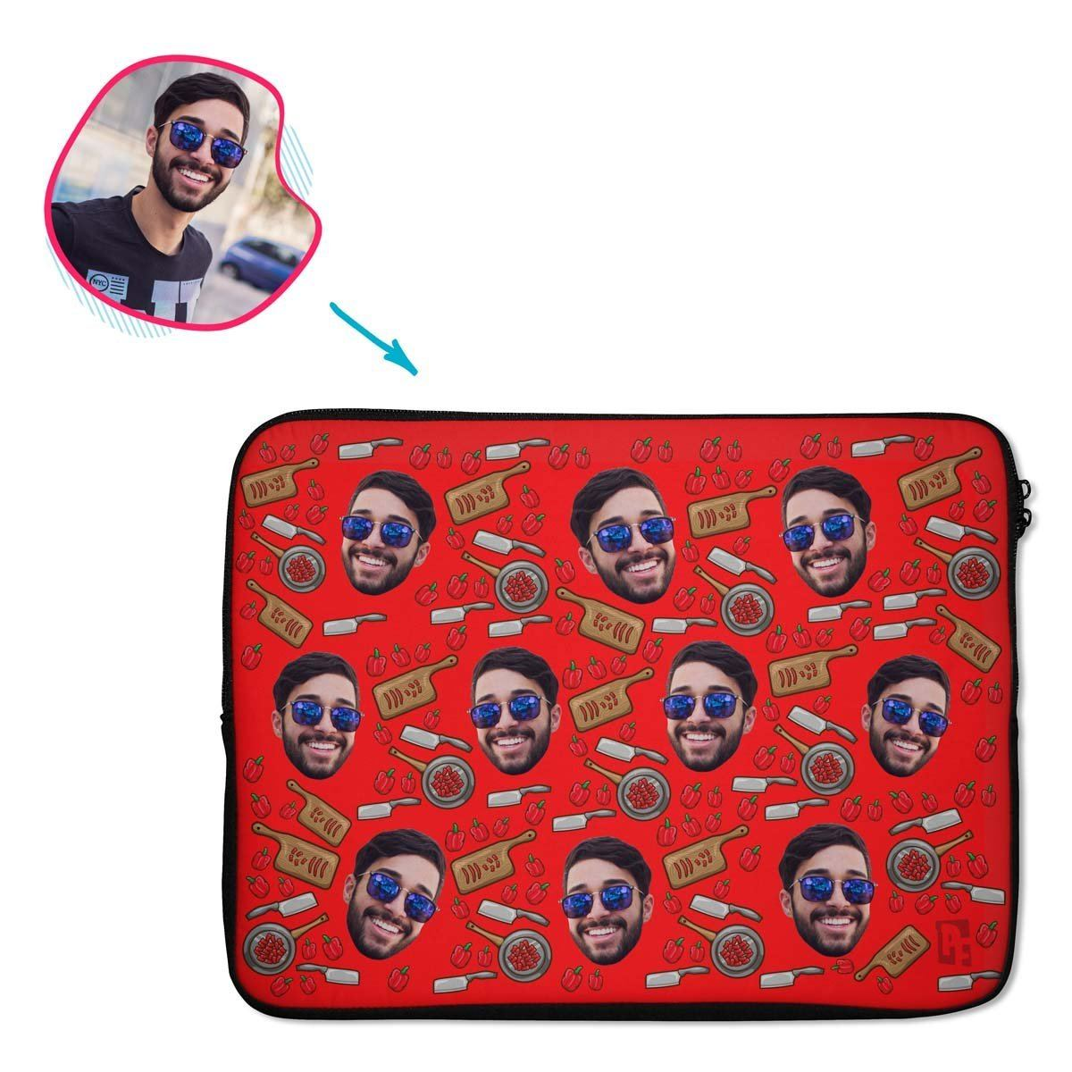 red Сooking laptop sleeve personalized with photo of face printed on them