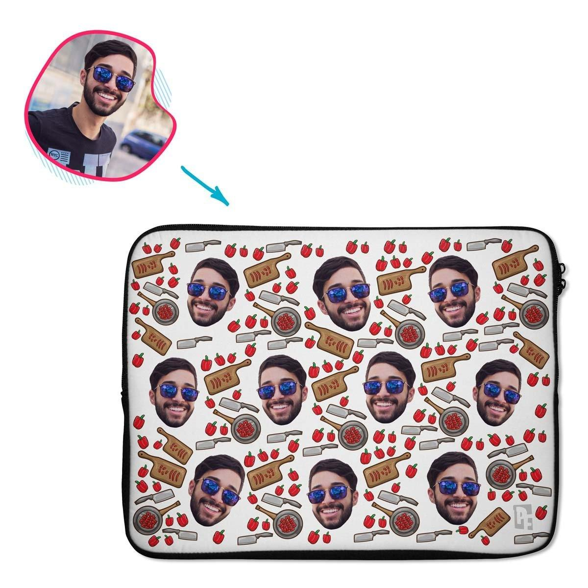 white Сooking laptop sleeve personalized with photo of face printed on them