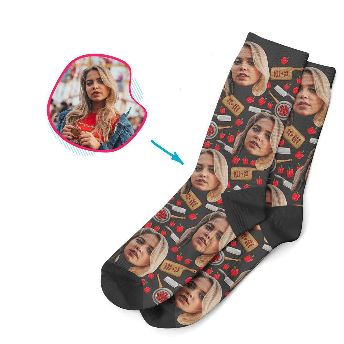 dark Сooking socks personalized with photo of face printed on them