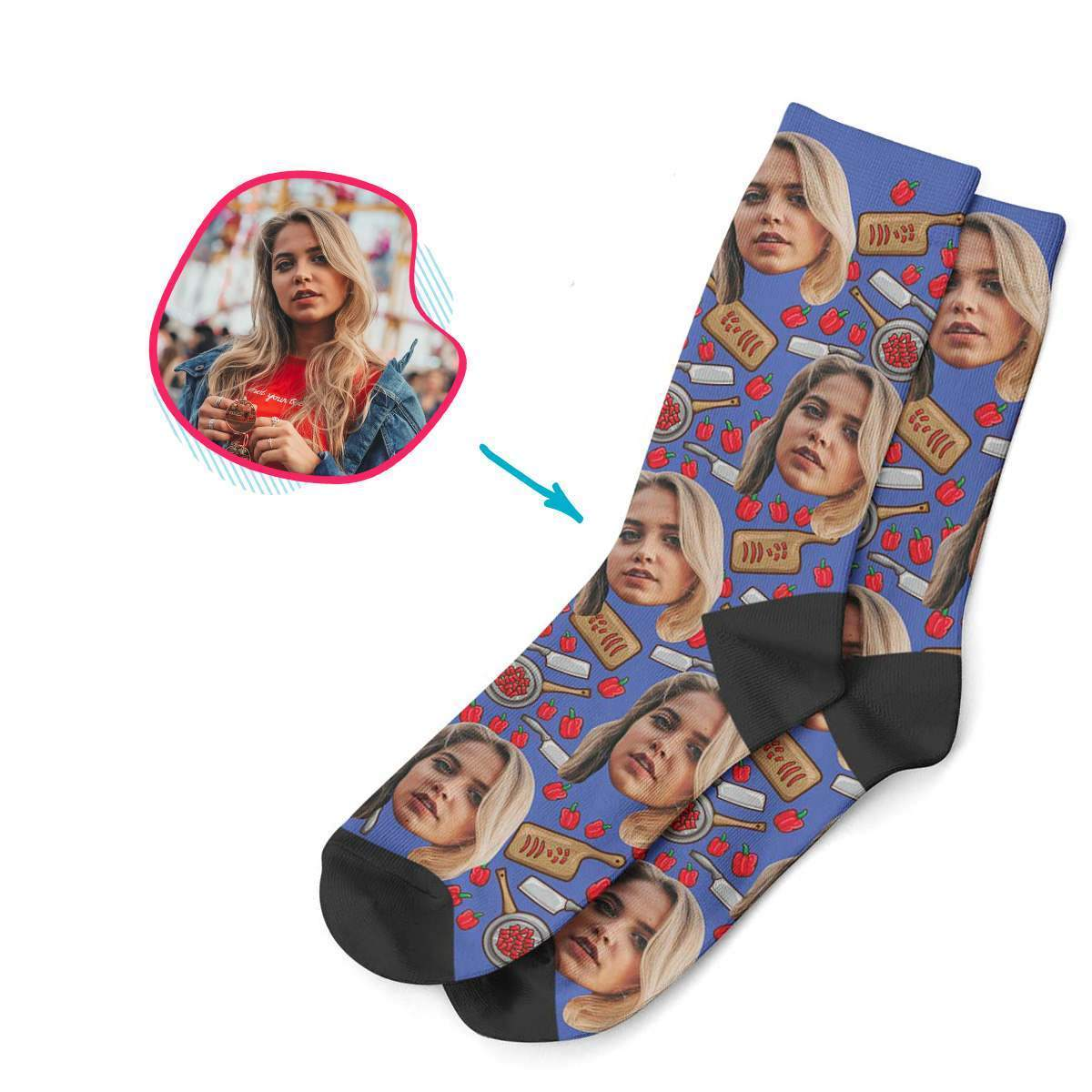 darkblue Сooking socks personalized with photo of face printed on them