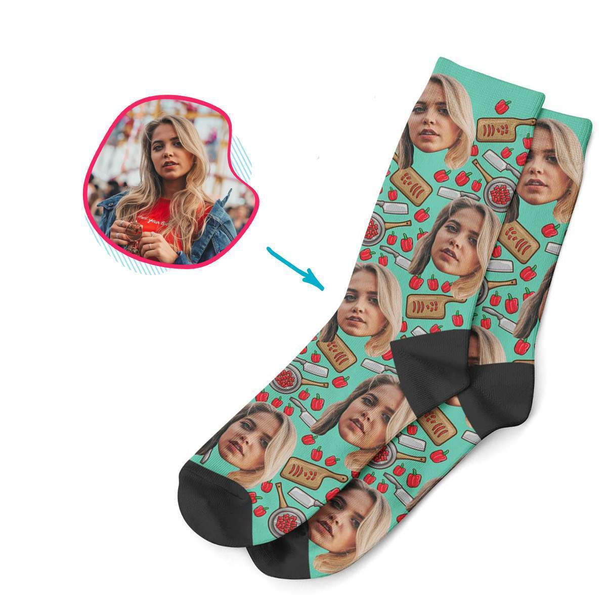mint Сooking socks personalized with photo of face printed on them