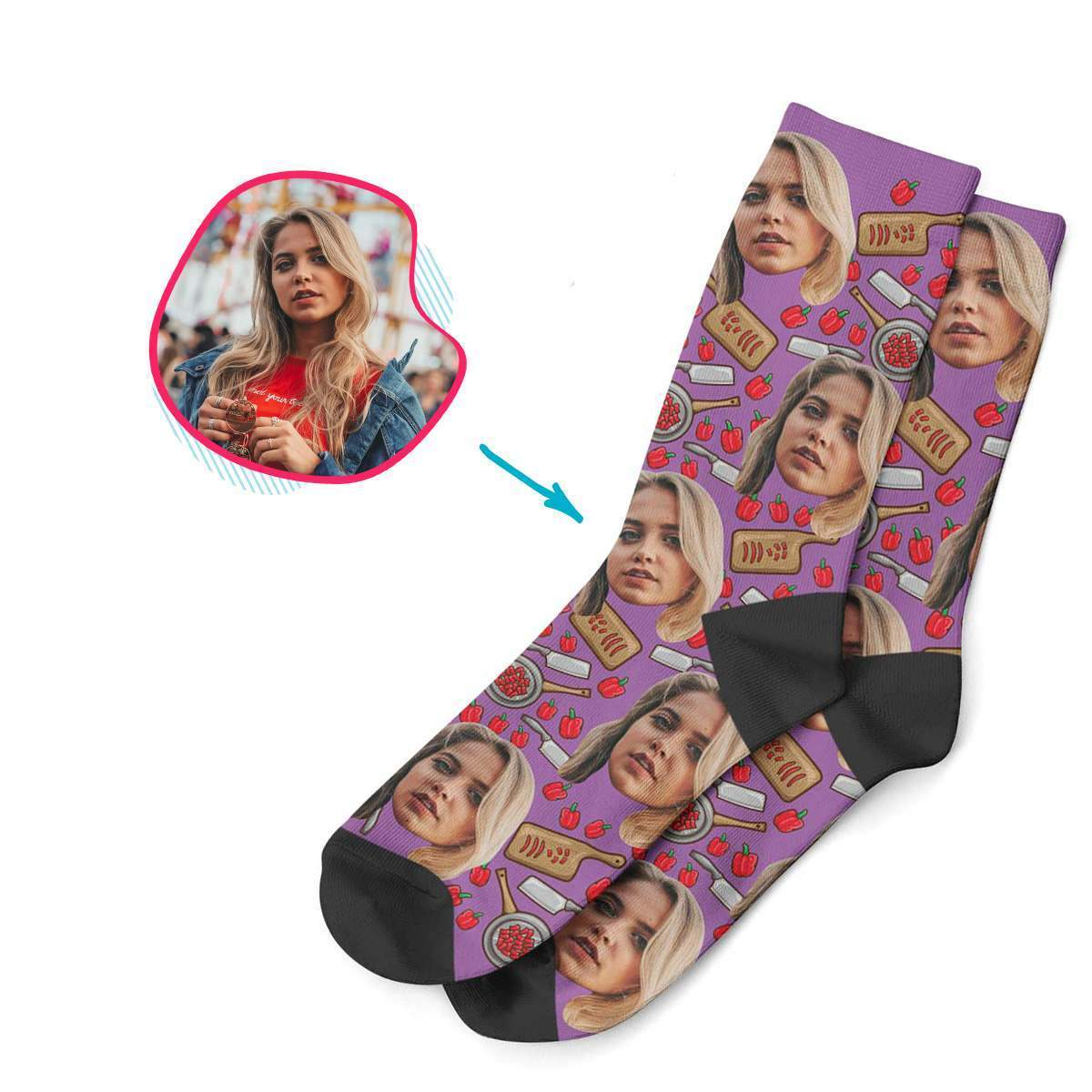 purple Сooking socks personalized with photo of face printed on them