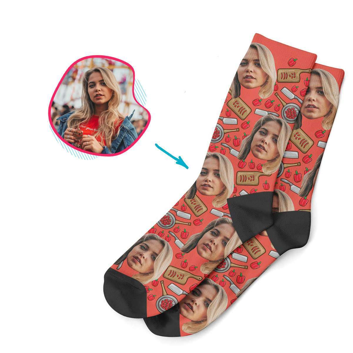 red Сooking socks personalized with photo of face printed on them