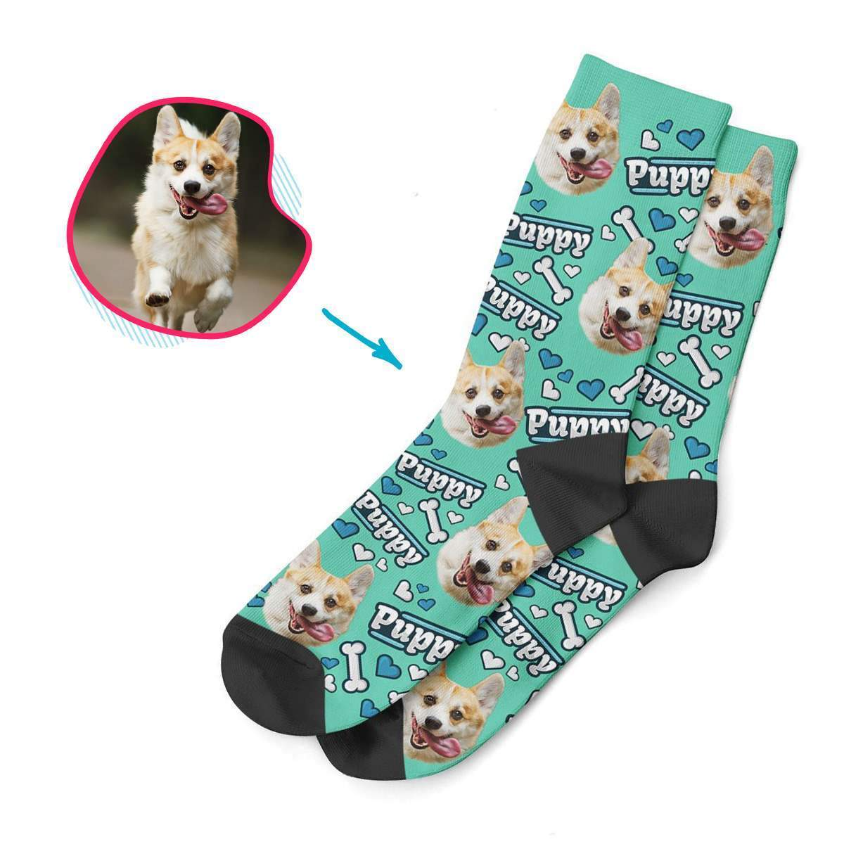 mint Puppy socks personalized with photo of face printed on them