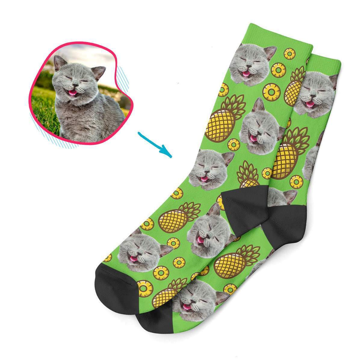 green Fruits socks personalized with photo of face printed on them