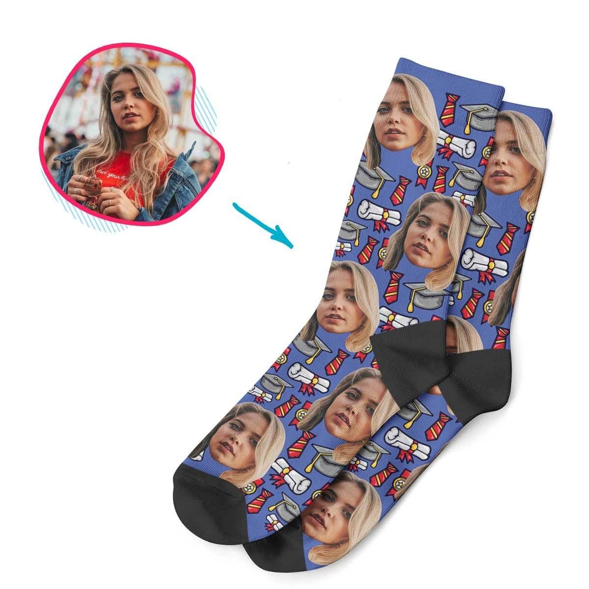 Darkblue Students & Graduates personalized socks with photo of face printed on them