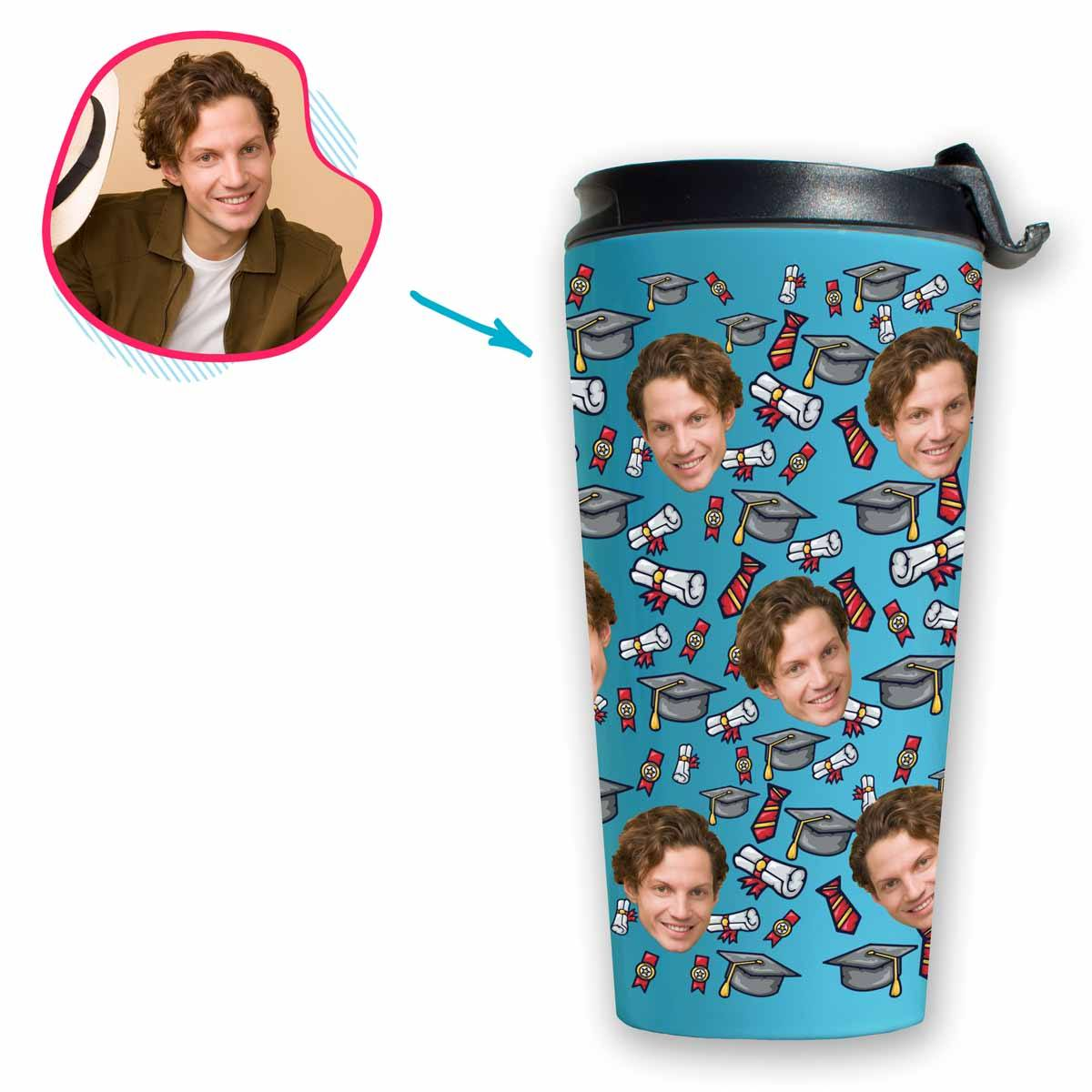 Blue Students & Graduates personalized travel mug with photo of face printed on it