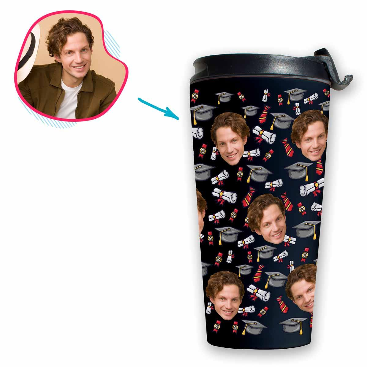 Dark Students & Graduates personalized travel mug with photo of face printed on it