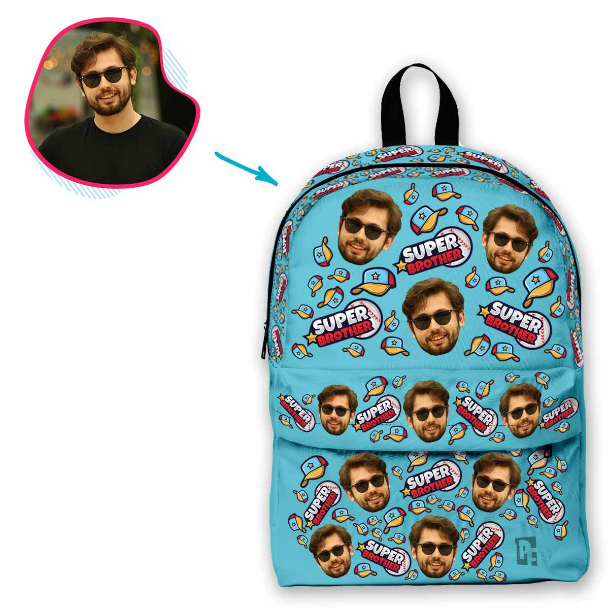 blue Super Brother classic backpack personalized with photo of face printed on it