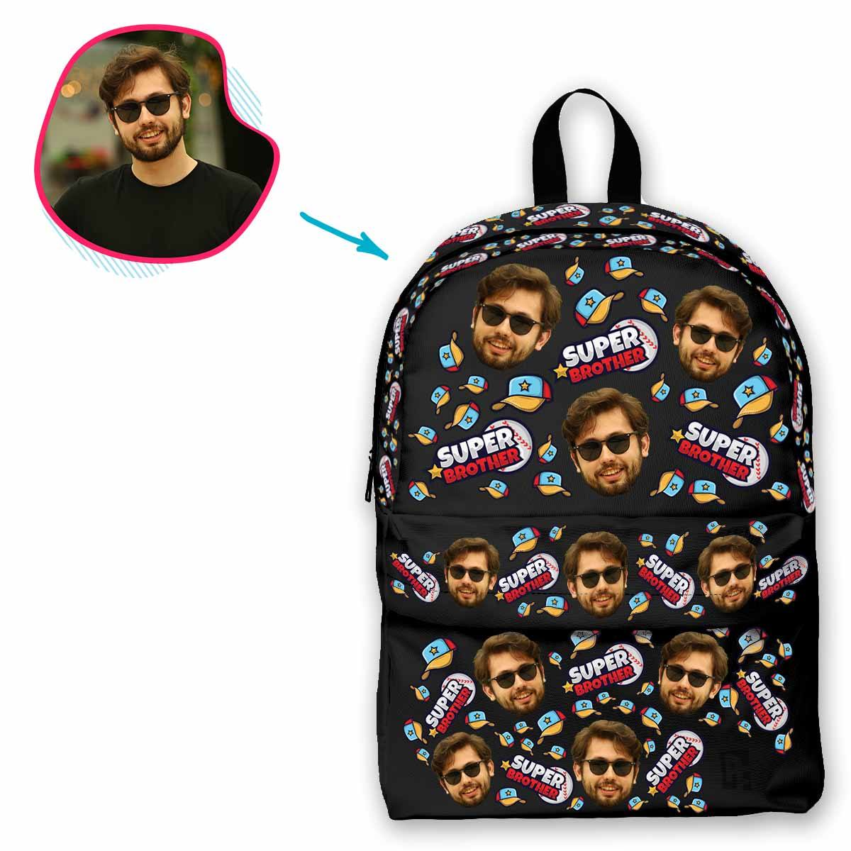 dark Super Brother classic backpack personalized with photo of face printed on it